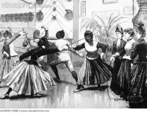Women's Fencing Class, Engraving, 19th Century