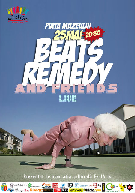 poster concert BEATS REMEDY 25 mai Cluj as EvolArts logos
